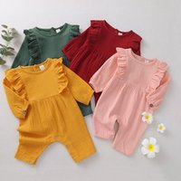 kids Rompers girls boys Solid color romper infant toddler ruffle sleeve Jumpsuits Spring and Autumn fashion baby clothes Z4347