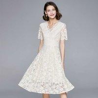 여름 여성 드레스 패션 기질 연예인 순수한 흰색 V-neck 슈퍼 페어리 레이스 스커트