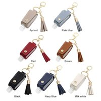 Keychains 30ml Reusable Hand Washing Bottle Key Chain Portable Travel Chains Refillable Keychain PU Leather Cover Holder