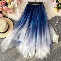 2021 Spring Mode Irregular Double-Layer Women Rok Vintage Blue Gradient Mesh Rok Female A-line High Taille Maxi Long skirt
