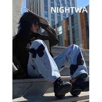 Nightwa Yaz Vintage Kadın Uzun Pantolon Kovboy Kadın Gevşek Streetwear Kelebek Baskı Yüksek Street Harajuku Jeans