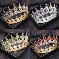 Мода Свадебные наушники Tiaras и Crowns Crystal Royal Queen King Crown Crown Свадебные Волосы Ювелирные Изделия Круг Диадема Невеста Головки Аксессуары