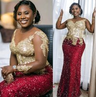 2021 Plus Size Arabic Aso Ebi Luxurious Burgundy Mermaid Prom Dresses Lace Beaded Sheer Neck Evening Formal Party Second Reception Gowns Dress ZJ667