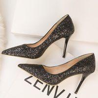 Dress Shoes High Heels Women's Pointed Toe Gradient Sequins Bridal Wedding Stiletto Woman Ladies Classic Pumps