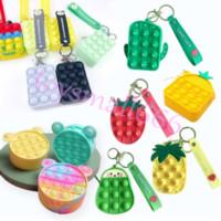 Fashion Push Bubbles Toy Rainbow Unicorn Kawaii Coin Purse Children Wallet Ladies Bag Silica Gel Simple Dimple Fidget Toys