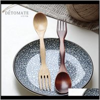 Wohnung Sets Holzlöffel Gabeln Kaffee Tee Löffel Salat Obstgabel Natürliche Holzbesteck N08OY TYQT9