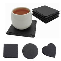 Slate Stone Drink Coasters Cup Mats Natural Dish Plate for Bar Kitchen Home Decor Black 10cm(3.9Inch) XBJK2107