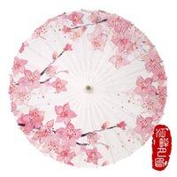 Paraguas JPY Pink Color Peach Flower Papel Papel Umbrella Cultura de Boda Exhibición Parasol Niños Etapa