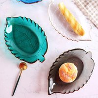 Dishes & Plates 5 Colors Creative Ins Leaves Glass Plate Gold Painting Simple Fruit Dessert Cake Salad Sushi Pickles Tray Tableware