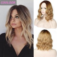 Synthetic Wigs Short Blonde Wavy Wig 14 Inch Ombre Brown Natural Wave For Black Women Fibre Female False Hair Cosplay
