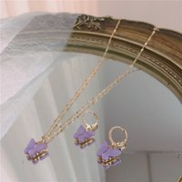 2020 Butterfly Pendant Necklaces And Earrings Set For Women Girls Fashion Pink Gold Necklace Elegant Choker Sweet Jewelry Gift 1041 Q2