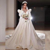 Vintage Plus Размер сатинированной линии Свадебные платья свадебные платья свадебные платья с длинными рукавами V-образным вырезом. Поезд невесты платье на заказ