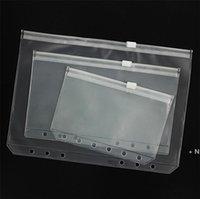 A5 / A6 / A7 PVC الموثق غطاء واضح سستة حقيبة التخزين 6 حفرة أكياس القرطاسية للماء مكتب السفر المحمولة وثيقة كيس owc7627