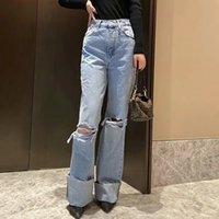BBWM женщина джинсы высокая талия одежда джинсовая одежда синяя уличная одежда старинные качества 2021 мода дыра хараджуку прямые брюки