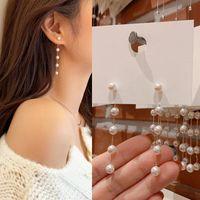 Dangle & Chandelier Fashion Simulated Pearl Women's Long Tassel Earrings Charm White Round Wedding Pendant Earring Korean Jewelry Gifts