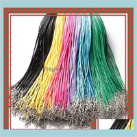 Components Drop Delivery 2021 14 Colors 50Cm Wax Leather Beading Cord String Rope Wire With Lobster Clasp Necklace Bracelets Diy Jewelry Find