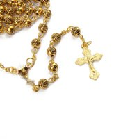 Guld Rosary Chalice Cross Rosary Necklace Metal Beads Catholic