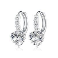 뜨거운 925 스털링 실버 하트 CZ 다이아몬드 스터드 귀걸이 패션 쥬얼리 웨딩 선물 여성을위한 최고 품질 DFF0736