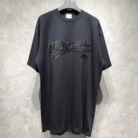 T-shirt da ricamo nero Uomo Donna 1 Top anteriori TEE di alta qualità Top in grande ricamato