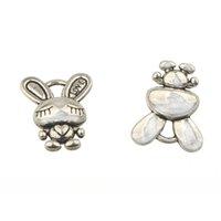 Charms Animals Bracelets Bangles Necklaces Dangles Pendant DIY Rabbit Love Retro Silver Metal Jewelry Findings & Components 16*13*6mm 100pcs