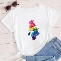 Summer Arrivals Makeup Print Womens T Shirt Harajuku Korean Trend Oversize O Neck Short Sleeve Women Clothing