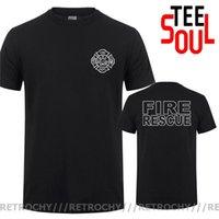 Erkek T-Shirt Retrochy Çift Taraflı Baskılar Yangın Kurtarma İtfaiyeci T Gömlek Erkekler İtfaiyeci Kısa Kollu Erkek Serin Adam Grafik Tshirt Tops