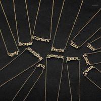 12 Tierkreis Brief Konstellationen Anhänger Halskette Für Frauen Männer Jungfrau Waage Libra Scorpio Sagittarius Capricorn Aquarius Geburtstagsgeschenk