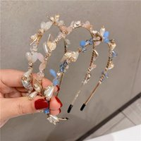 Pearl Leaf Rhinestones Hairband Elegant Ladies Jewelry Headband Charming Women Diamond Headdress Shiny Wedding Hair Accessories