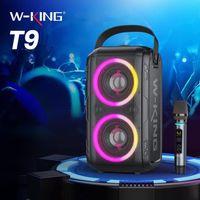 El altavoz de la fiesta de Bluetooth de Karaoke W-King T9 (100W Peak), altavoces inalámbricos TWS con tecnología Bassup, luces LED de color mixto, tarjeta TF / Reproducción USB Subwoofer RGB