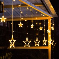 AC110V or 220V Holiday Lighting LED Fairy Star Curtain String luminarias Garland Decoration Christmas Wedding Light 2.5M led Icicle Lights In Stock