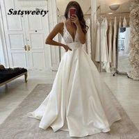 Summer Beach Wedding Dress 2022 Sexy Speghetti Straps Deep V-Neck Bride Dresses Sweep Train Vestidos De Noiva Hot