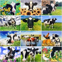 Diamond Painting DIY Cow 5D Cross Stitch Farm Animal Embroidery Kits Full Round Mosaic Rhinestones Decor Home