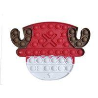 2021 Christmas Fidget Pioneer Toys Tamaño grande para niños Pulseras Pulseras Pulseras Burbujas Snowman Deer Head Santa Claus Navidad DecomPresione Juguete Regalos