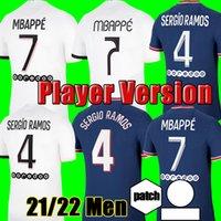 Oyuncu sürümü 2021 2022 futbol forması # 4 SRERGIO RAMOS MBAPPE Neymar JR Futbol Gömlek Ev Mavi Icardi Verratti Erkekler Futbol Üniformaları Satışa Özelleştirilmiş