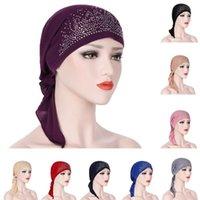 Mujeres Musulmanes Moda Hijab Cáncer Quimio Color Sólido Rhinestone Turban Cubierta Cabeza Pérdida de cabello Scarf Wrap Wrap Pre-atado Bandanas Ropa étnica
