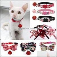 Collars Leashes Supplies Home & Gardencute Small Pet Dog Cat Collar Bell Print Flower Bowknot Neck Strap Bow Tie For Puppy Chihuahua Pug Ted