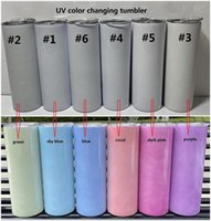 DHL UV Renk Değiştirme Tumbler 20 oz Süblimasyon Tumbler Güneş Işık Algılama Paslanmaz Çelik Düz Tumbler