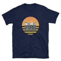 T-shirt dos homens t-shirt do vintage T-shirt Oldschool retro do por do sol Minolta Pelt Tshirt