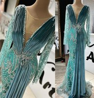 Arabic Mermaid Prom Dresses Sexy Sheer V-Neck Long Sleeves Velvet Evening Dress Sequined Beaded Formal Party Second Reception Gowns