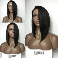 Silky Straight Bob Human Hair Full Lace Wigs With Bangs virgin Brazilian Lace Front Human Hair Wig For Black Women Lfred