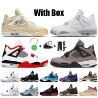 Nike Air Jordan 4 Retro Off White Jordan 4 4s Jumpman Stock x Travis Scott Mit Box Frauen Damen Basketballschuhe Trainer Sneakers