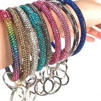 Ins Silicone pulso chaveiro com braceletes glitter cristal strass pulseira de silicone keychain círculo carro chaveiro jóias d22904
