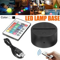 Night Lights Touch Switch Modern Black USB Cable Remote Control Light Acrylic 3D Led Lamp Assembled Base