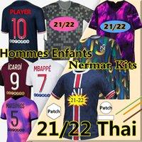 Nouveau 21/22 psg maillot de football 2021 22 Psg Mbappe VERRATTI icardi MARQUINHOS KIMPEMBE DI MARIA KEAN Hommes Enfants Kits pré-Match Paris Saint Germain Thaïlande maillots