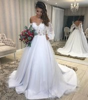 Off the Shoulder Long Sleeves A Line Wedding Dresses with Lace Appliques Sweep Train Plus Size Bridal Gowns