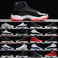 [Bracelet + Chaussettes + Boîte d'origine] Air Jordan 11 Jordans AJ11 shoes 11S Cap et robe Night Night Men chaussures Chaussures de basketball Platinum Tint Gym Rouge Bred Prm