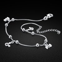 Solid women's anklet 100% 925 silver round bead snake chain ankle jewelry summer fashion accessories 23 + 5cm length