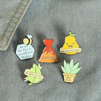 European Aloe Potting Leaf Plant Brooches Pear Heart Bee Letter Cowboy Pins Alloy Paint Backpack Clothes Animal Badge Jewelry Accessories Wholesale