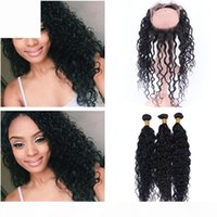 Deep Curly Malaysian Human Hair Weaves with 360 Lace Frontal...