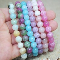 Bangle 8mm Crystal Beaded Bracelets Multicolor Natural Rhodochrosite Stone Gem Bangles Women Fashion Jewelry For Wedding Anniversary